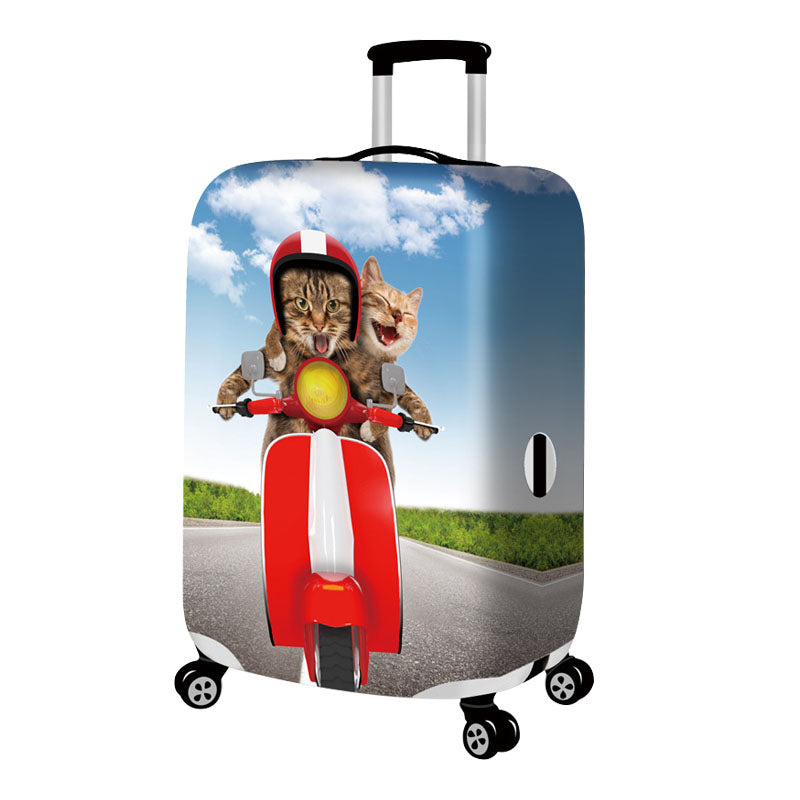 Cute Couple Cats Luggage Cover Women's Girls Elastic Suitcase Protection Case Trolley Dust Rain Bags Accessories Supply Products