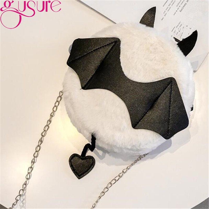 Gusure Plush Small Round Girls Bag Women's Chic Chain Hairy Bat Bag Little Monster Shoulder Bags with Tail Lady Gothic Handbag