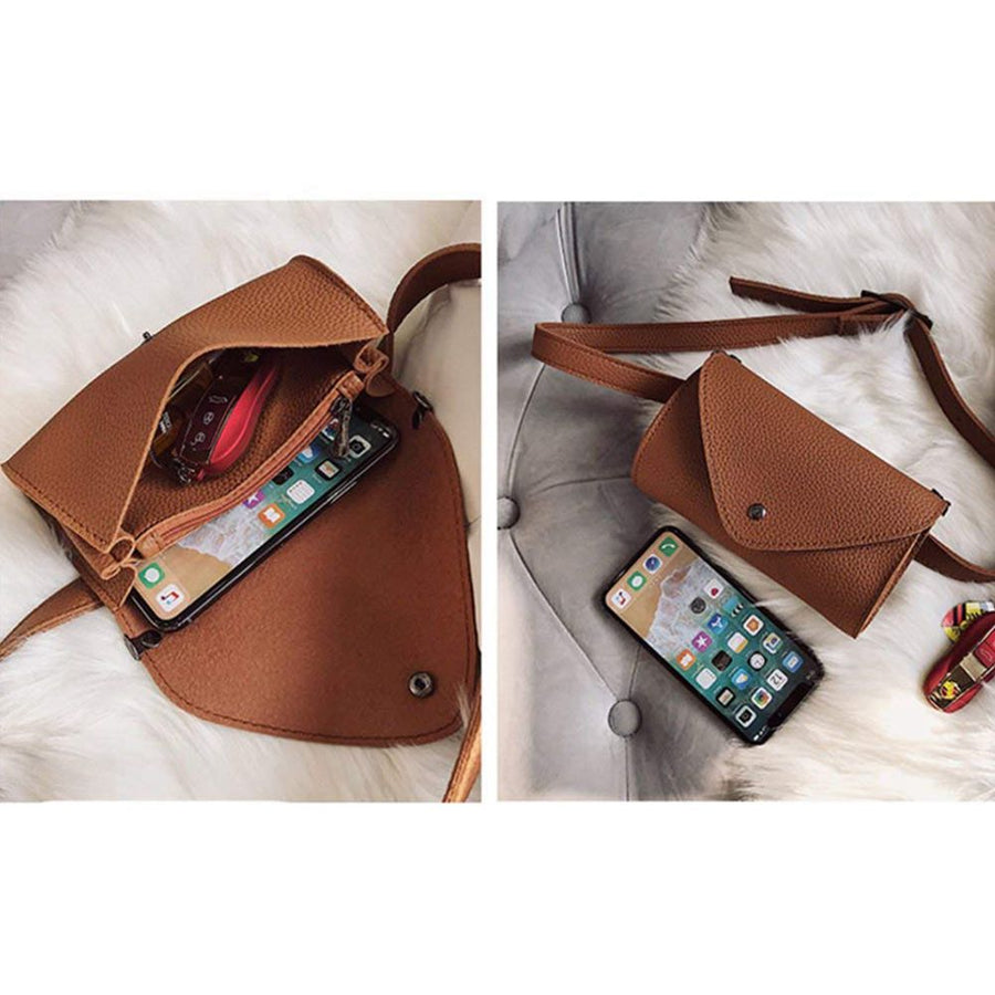 Women's Hot Elegant Leather Brown Waist Fanny Belt Crossbody Pack Bags With Purse Pocket Stylish For Girls Women(Brown