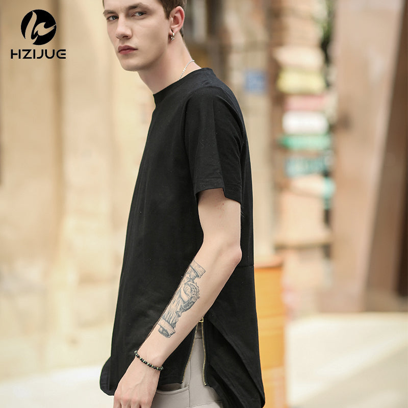 2211c7940e85 HZIJUE Side Zipper Extended Man Mens Hip Hop Hiphop Swag Long Casual T  Shirt Top Tees