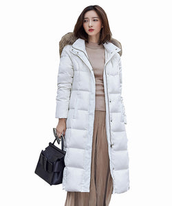 OMLESA 2017 Down Jacket Winter Jacket Women Natural Large Fur Collar Hooded Warm Thick Parks Female Duck Down Coat Outwear DQ059