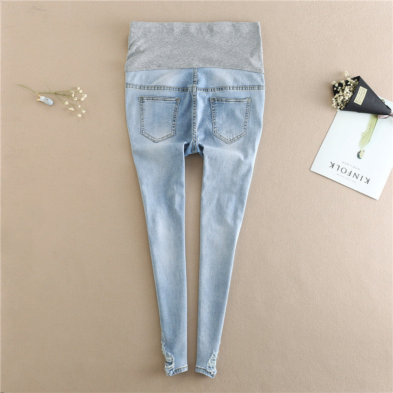 Light Blue Maternity Jeans Ripped Hole Pencil Pregnancy Trousers Clothes for Pregnant Women Embroidery Flower Denim Pants B0299