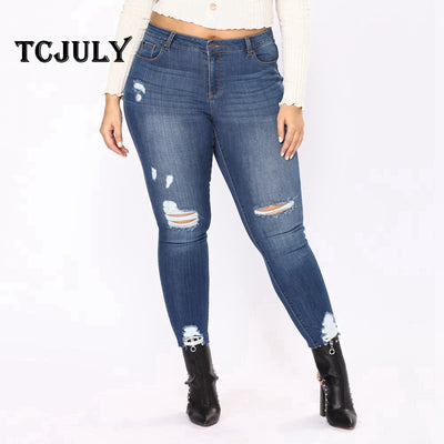 0fb00e56dee1e TCJULY America Fashion Distressed Mom Jeans Skinny Push Up Women's Jeans  Large Sizes 6XL 7XL Cotton