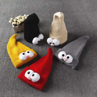 1PC Cartoon Baby Beanie Winter Hat with Big Eyes for Girls Boys Warm Knit Children's Hats  UpCube- upcube
