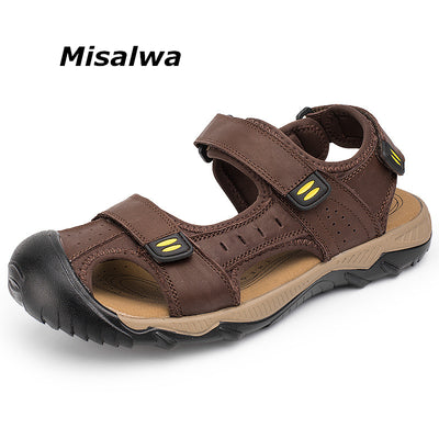 6902a6f7c292a Misalwa Genuine Leather Men Casual Sandals Outside Men Summer Cool Shoes  Quality Beach Sandals Big Size