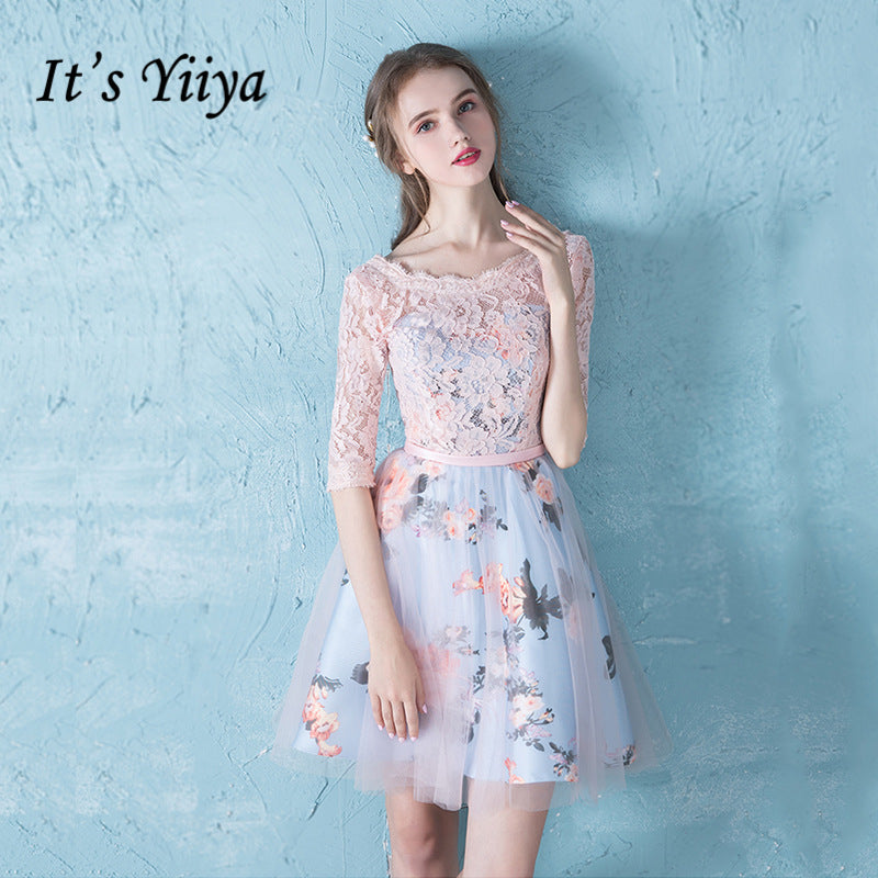 a2c75c63b1492 It's YiiYa cocktail dress knee length Lace Floral Print Lace Dinner Dress  Fashion Designer Formal Dress Party Gown LX177