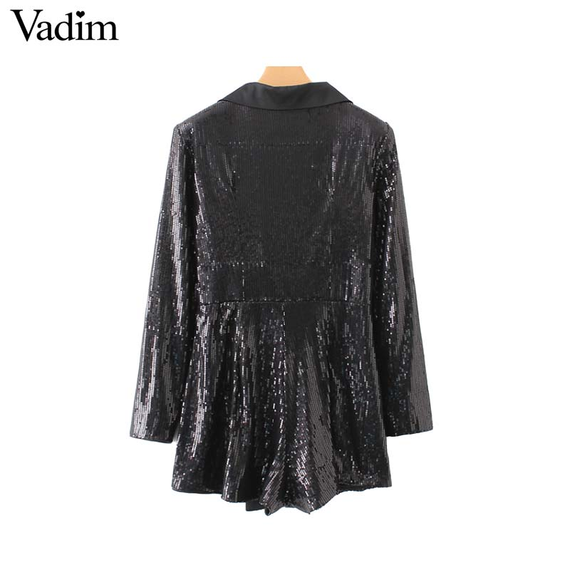 f11219eaee7 Vadim women chic sequined black playsuits notched collar long sleeve  buttons rompers solid female casual wear