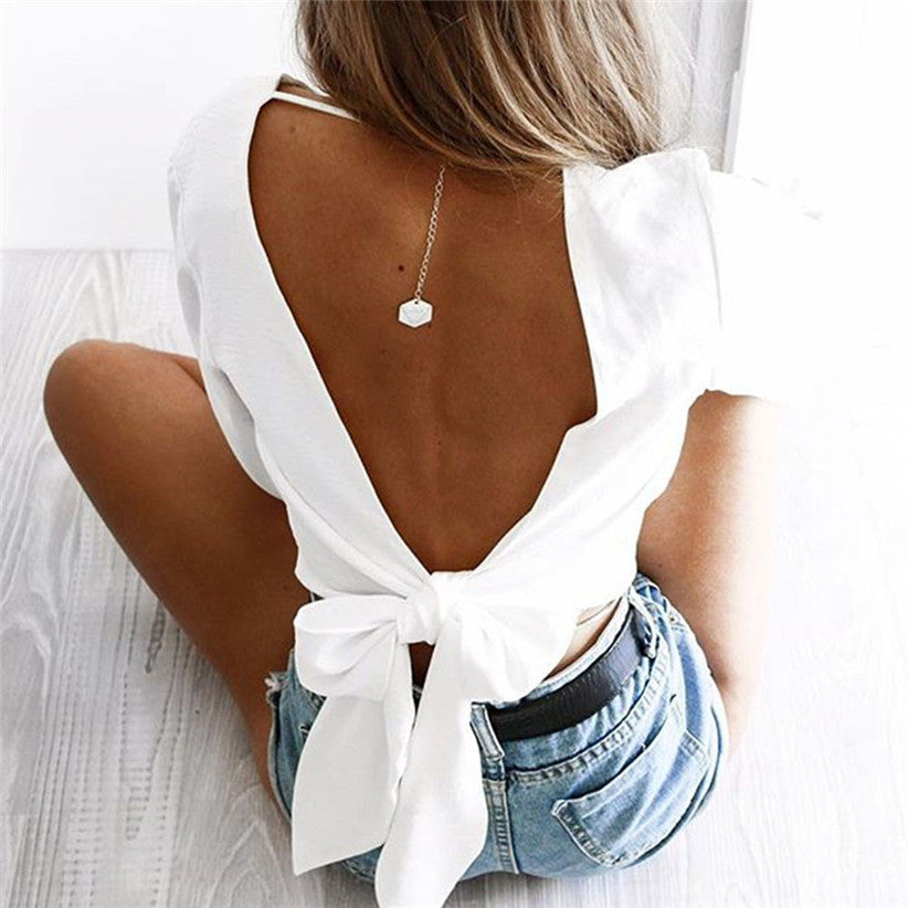 6adf64972ba Show your Pretty Back Chamsgend Blouse Newly Women Sexy Deep V Backless Lace  up Long Puff