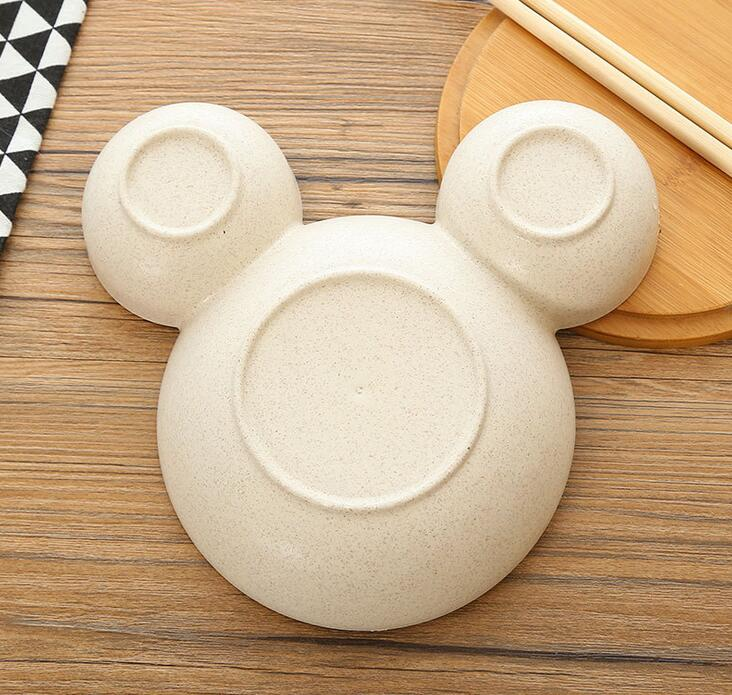 1 PC Creative Cartoon Plate Pure natural wheat straw Lovely Lunch Tray Dishes Kids Bowl Dinnerware Children's Plastic Tableware  dailytechstudios- upcube