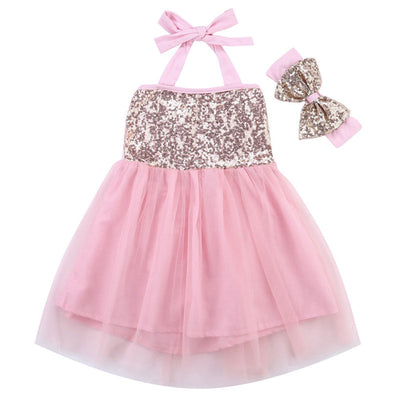 0-18M Newborn Baby Girl Headband Princess Party Formal Tulle Tutu Dress - upcube