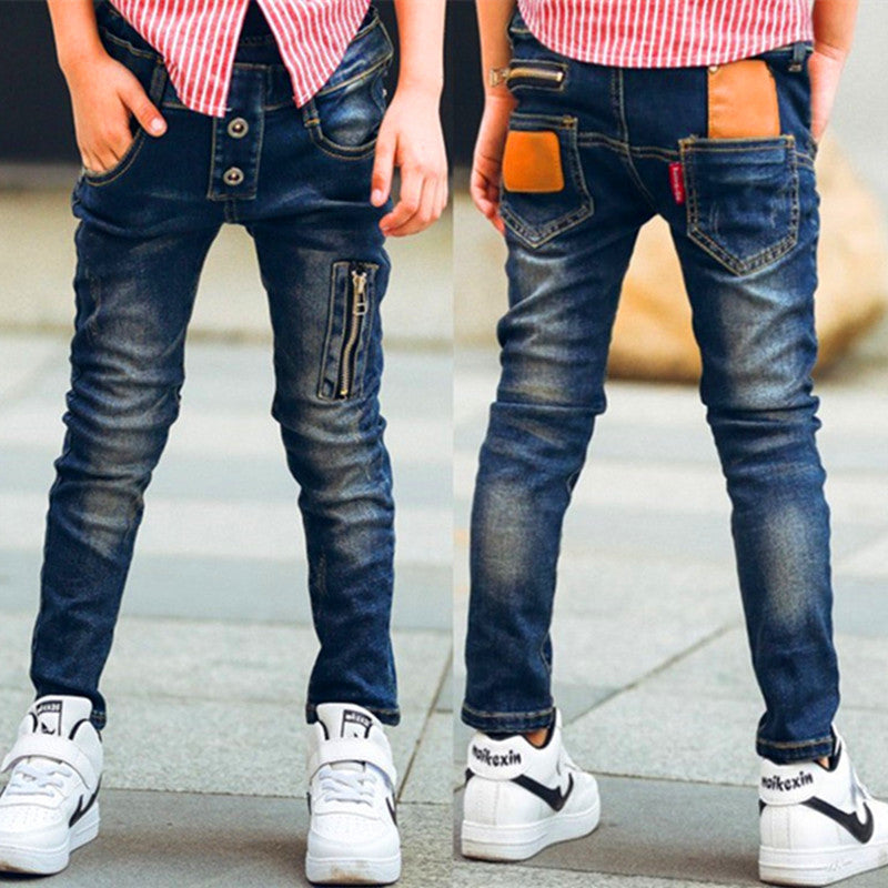 Children zipper jeans, boys pants fit for spring baby boys jeans children trousers Suitable: 3 4 5 6 7 8 9 10 11 12 13 14 years  UpCube- upcube