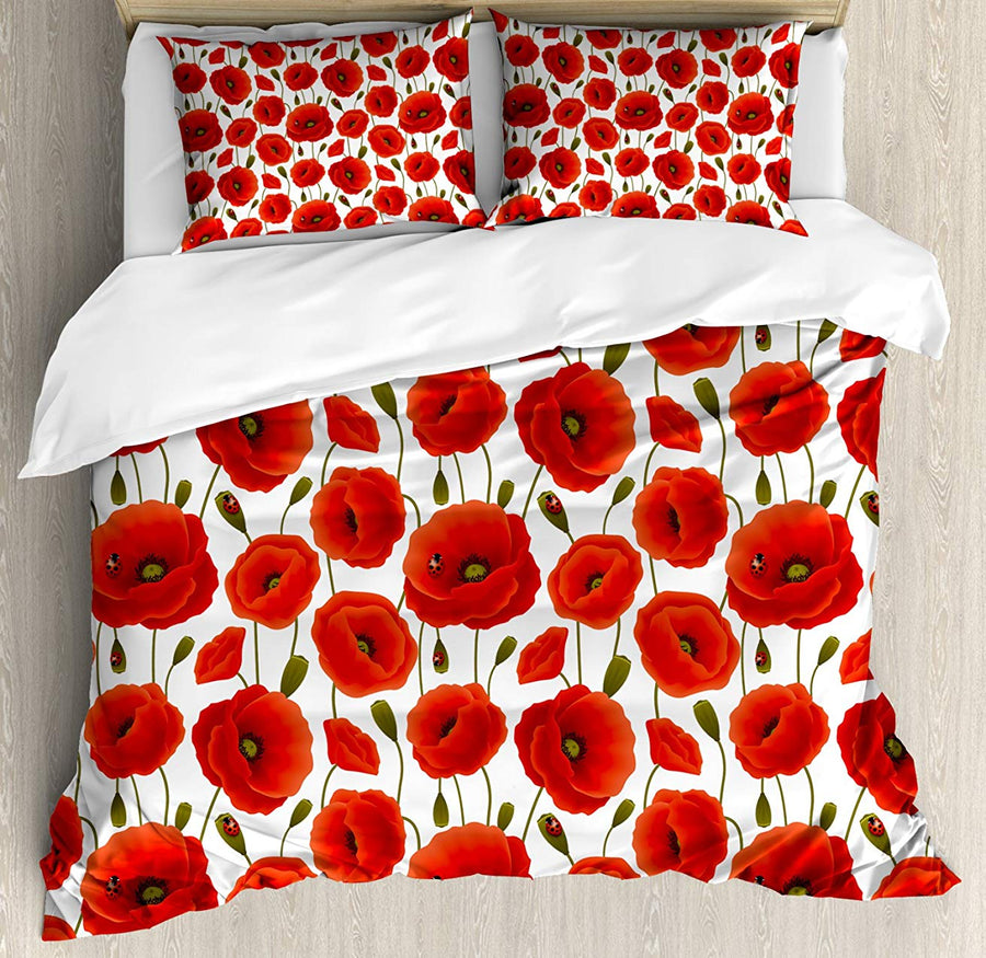 Poppy Duvet Cover Set King Size Spring Flower Ladybugs Animal and Plant Flora and Fauna Nature Bedding Set Red Olive Green White
