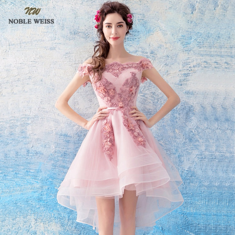 NOBLE WEISS Pink Prom Dress Customized Fashion Boat Neck Lace-up Back Tulle  Asymmetrical Appliques 4f49d9305993