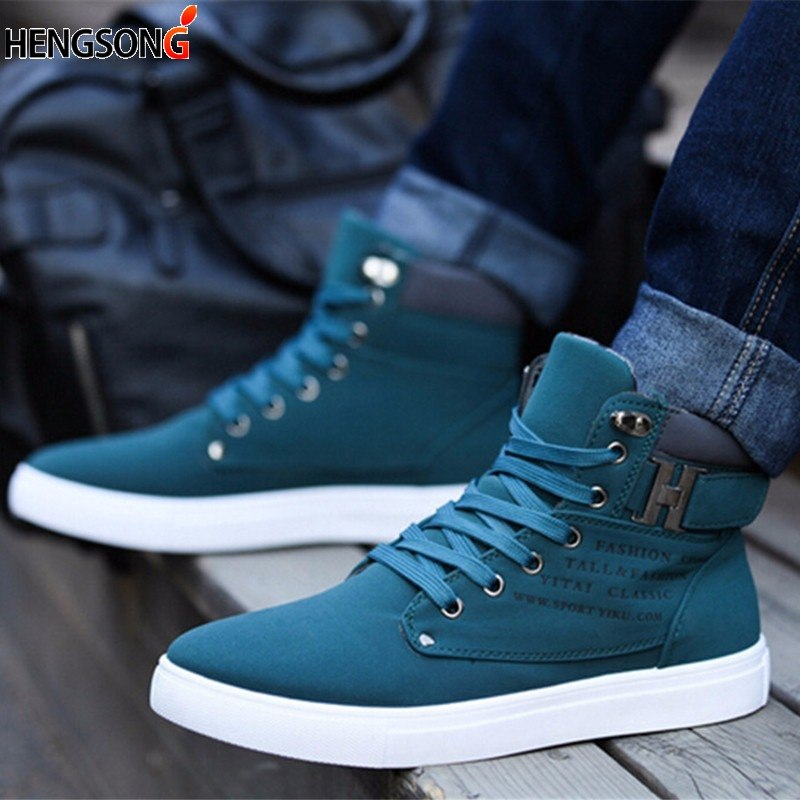 1Pair New Brand Flat Heel Men's Shoes Autumn Winter Ankle Boots Male Snow Boots Casual British Style Men Canvas Shoes RV871485