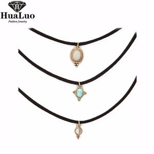 HUALUO 3 Colors All-match Chokers Necklaces Alloy Cute Pendants Necklaces Hot-selling Sets Necklace Wholesale NW3181