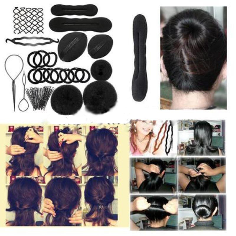 Hair Accessories for Women Hair Styling Maker Tool Accessory Hairpins Head bands Hair Clip Pads Foam Sponge Bun Donut Bride