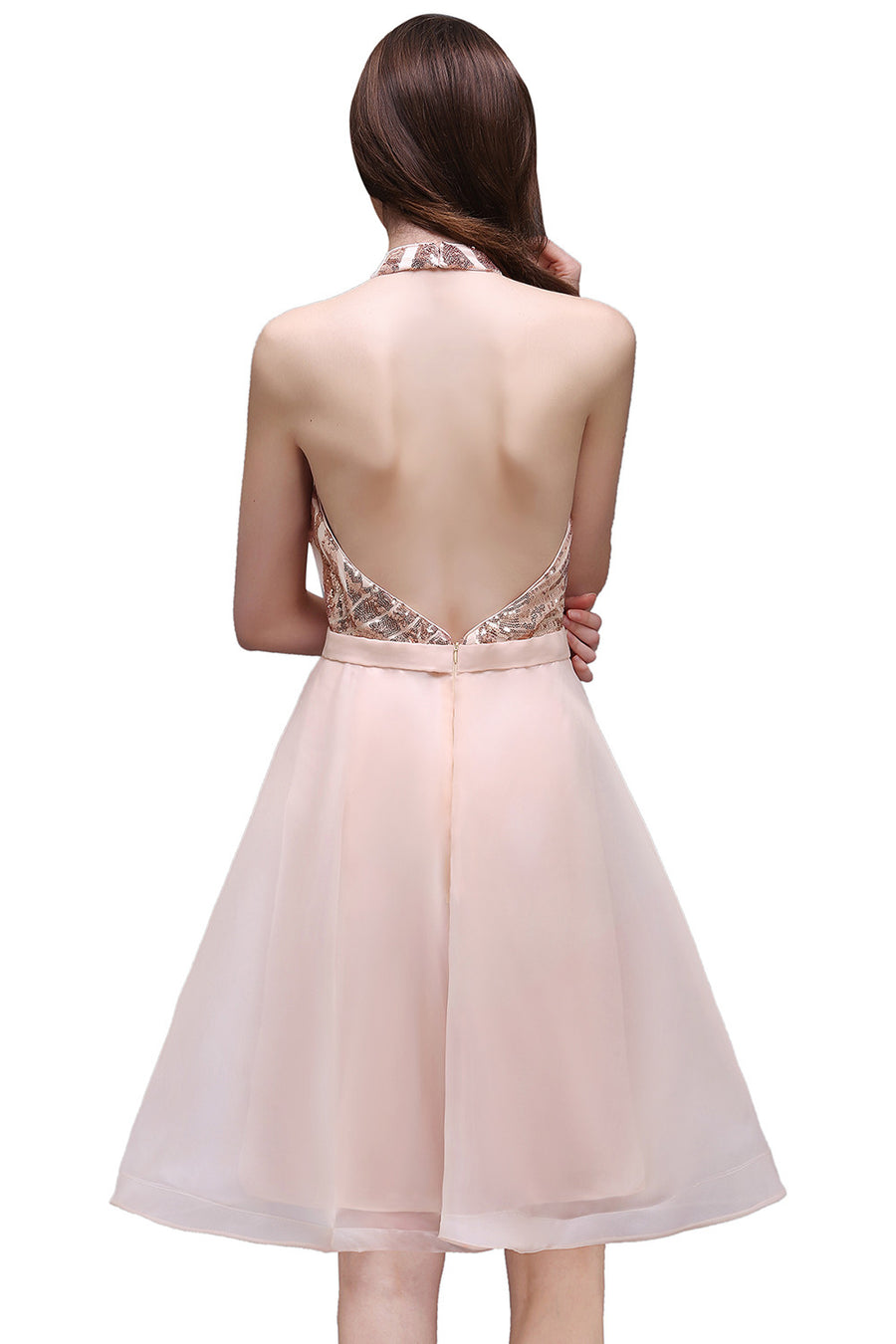 Halter Short Glitter Prom Dresses 2017 Off The Shoulder Ball Gown Backless Organza Sequined Party Dresses