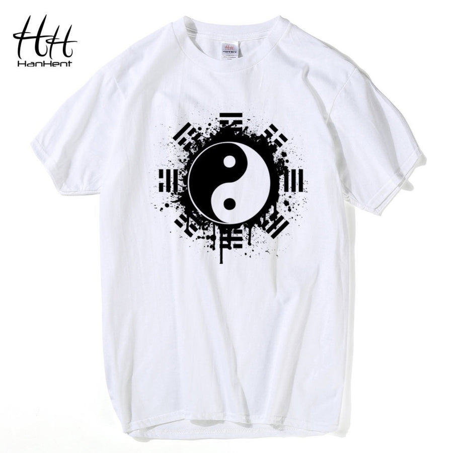 f8d7ae266036 HanHent New 2016 Fashion Summer Brand T Shirt Men Tops Chinese Tai Chi Ink  Ying Yang
