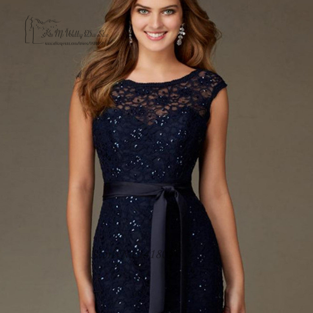 High Quality Navy Blue Lace Sequin Bridesmaid Dresses Long V Back Wedding  Guest Dress Gowns Floor 11b847a14573