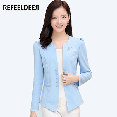 36f5d53c8ee High Quality Women Suit Blazers And Jackets 2017 Autumn Winter Long Sleeve  Ladies Blazer Femme White