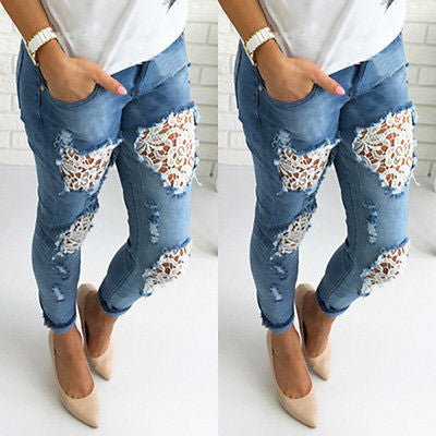 Hot Lace Women Destroyed Ripped Distressed Slim Denim Pants Lace Jeans Trousers