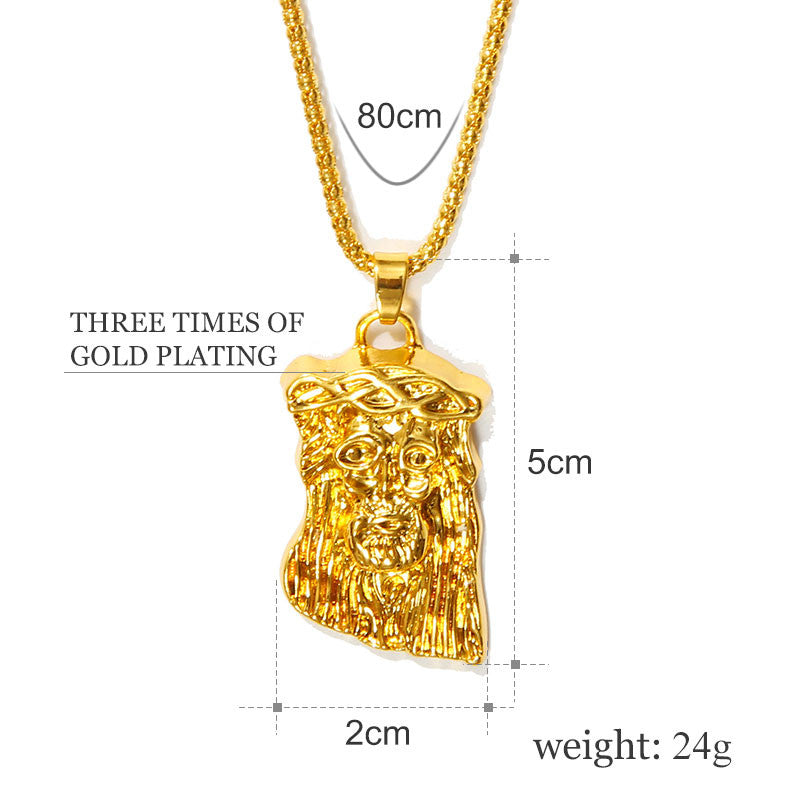 Hot gold color filled jesus piece pendant necklace for men women hip hot gold color filled jesus piece pendant necklace for men women hip hop jewelry gold aloadofball Choice Image