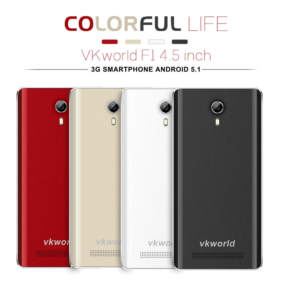 In stock VKworld F1 4.5 inch 3G Smartphone Android 5.1 MT6580 Quad Core Mobile Phone 1.3GHz Dual SIM 1GB RAM 8GB ROM Cell Phone