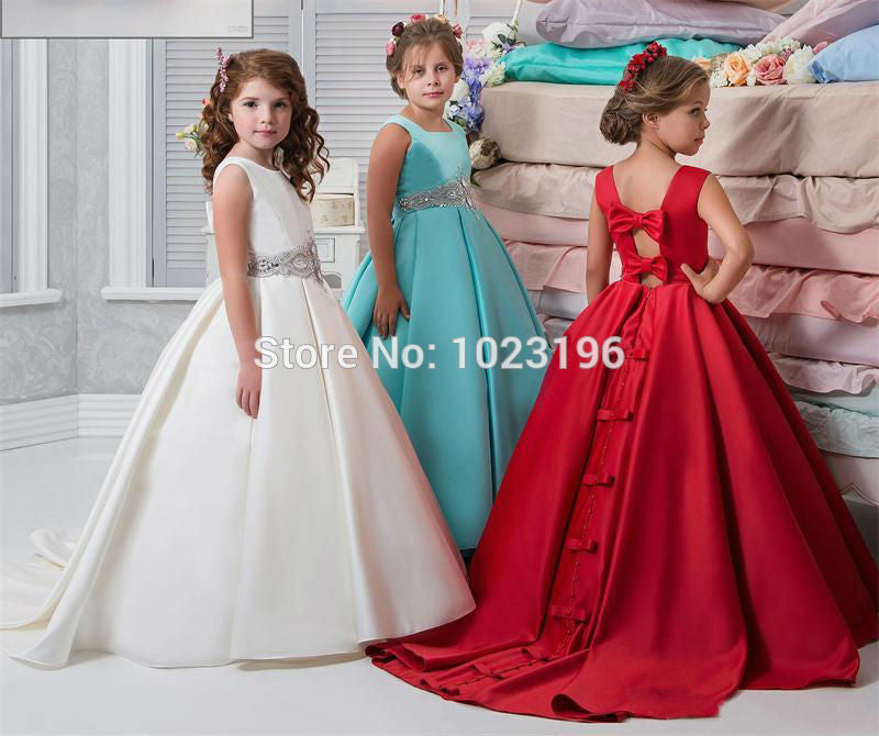 37670f98368 Ivory Flower Girl Dresses Satin Ball Gown Sash Crystals Beads Girs Pageant  Dress For Wedding Back