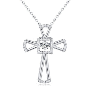 JO WISDOM 100% 925 Silver Dancing Natural Stone Natural Topaz Cross Pendant Necklace for Girl's Gift Fashion Women Jewelry