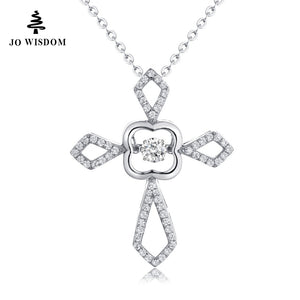 JO WISDOM 100% 925 Silver Dancing Natural Topaz Cross Pendant Necklace for Girl's Gift Fashion Women Jewelry