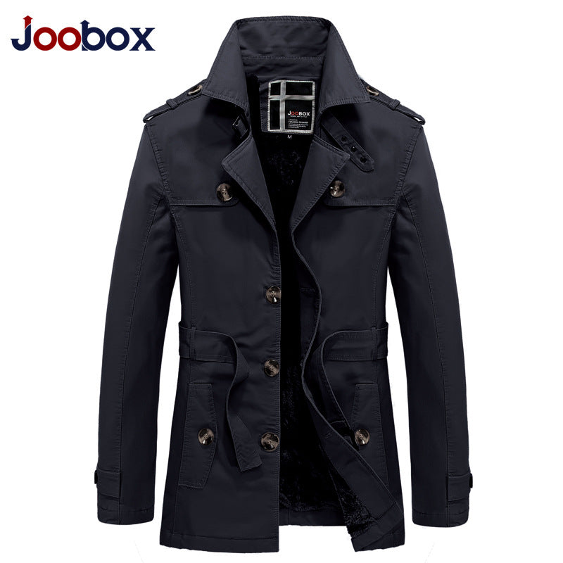 JOOBOX Brand 2017 long trench coat men thick warm autumn Wool Liner trench coat winter jacket England style mens Casual coat