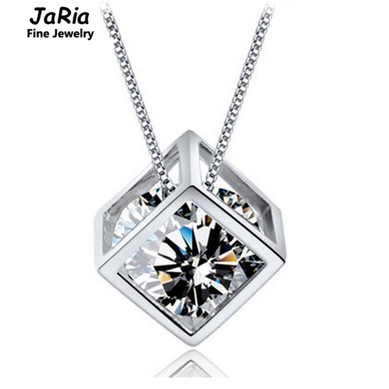 JaRia Fine Jewelry 925 Sterling Silver Crystal Box Happy Cube Pendant Women Jewelry Best include Random 40CM 925 chain SPA016