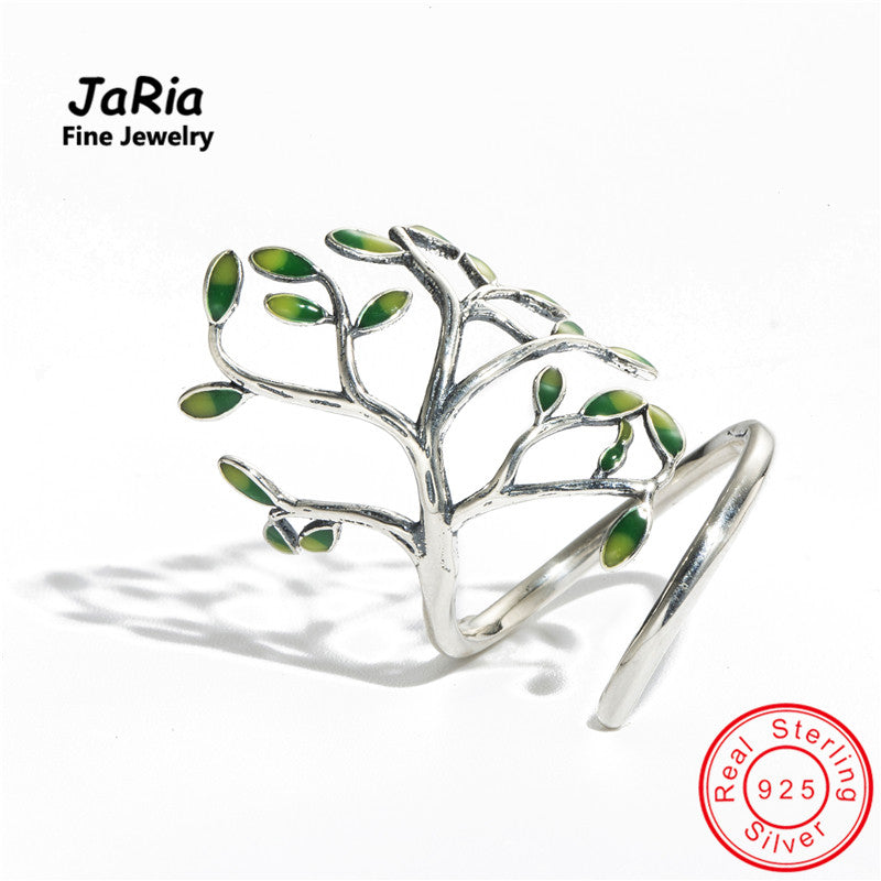 JaRia Fine Jewelry Newest Handmade Real Sterling Silver 925 Jewelry Tree Shaped Wraped Ring Trendy Design Women Silver Rings