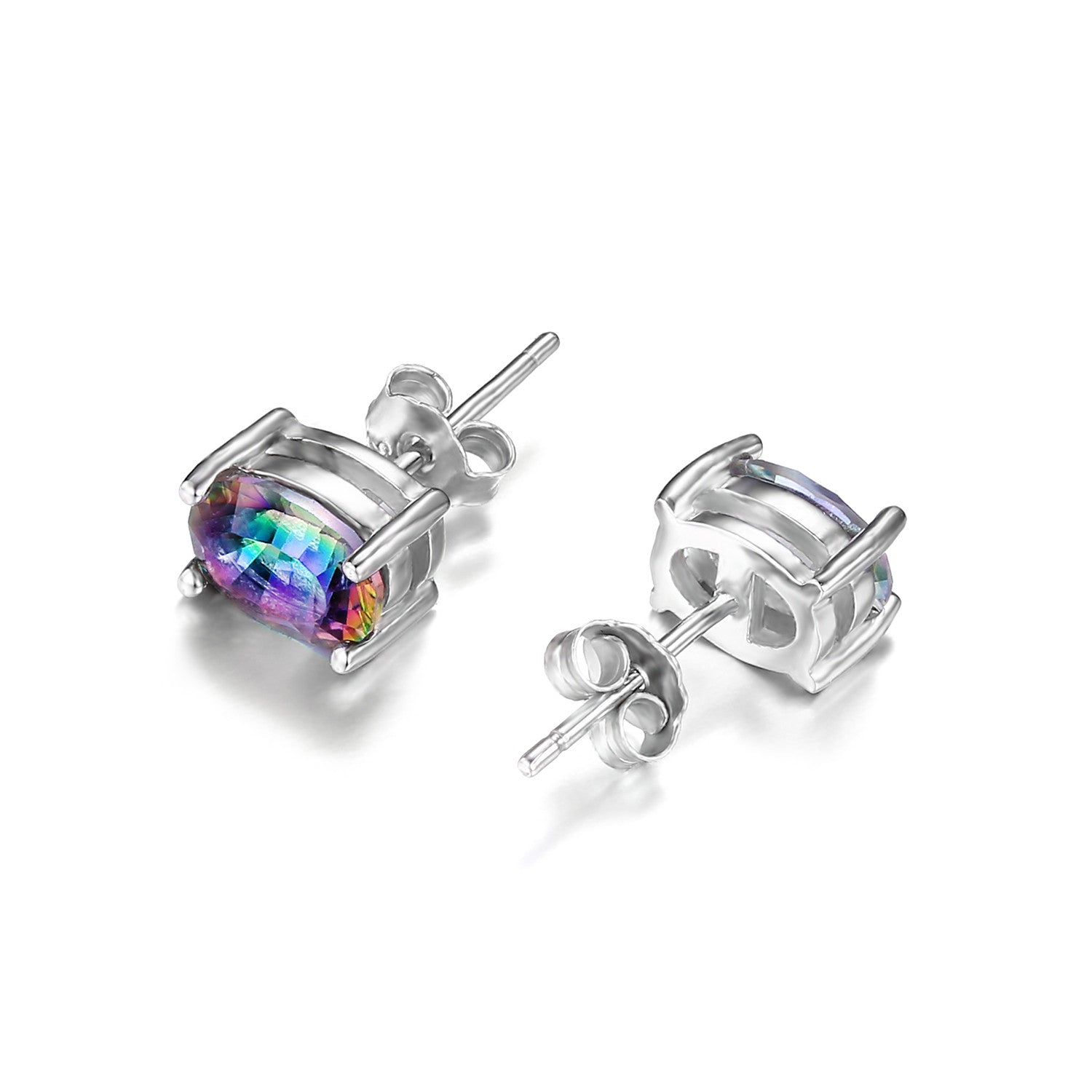 trillion women rainbow silver earrings stud topaz pin mystic genuine sterling