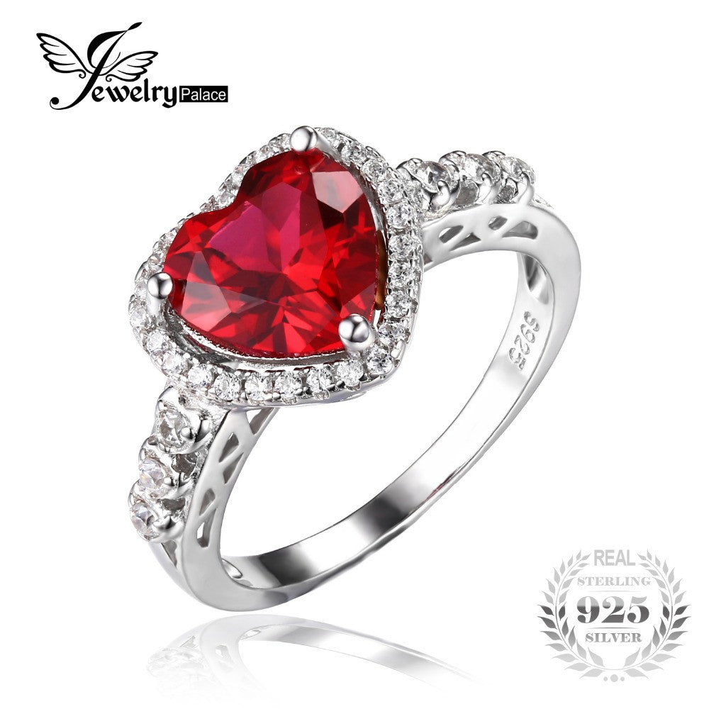 JQUEEN 925 Sterling Silver 1.75ct Princess Ruby Cubic Zirconia CZ Halo Promise Engagement Wedding Ring lpVlj3