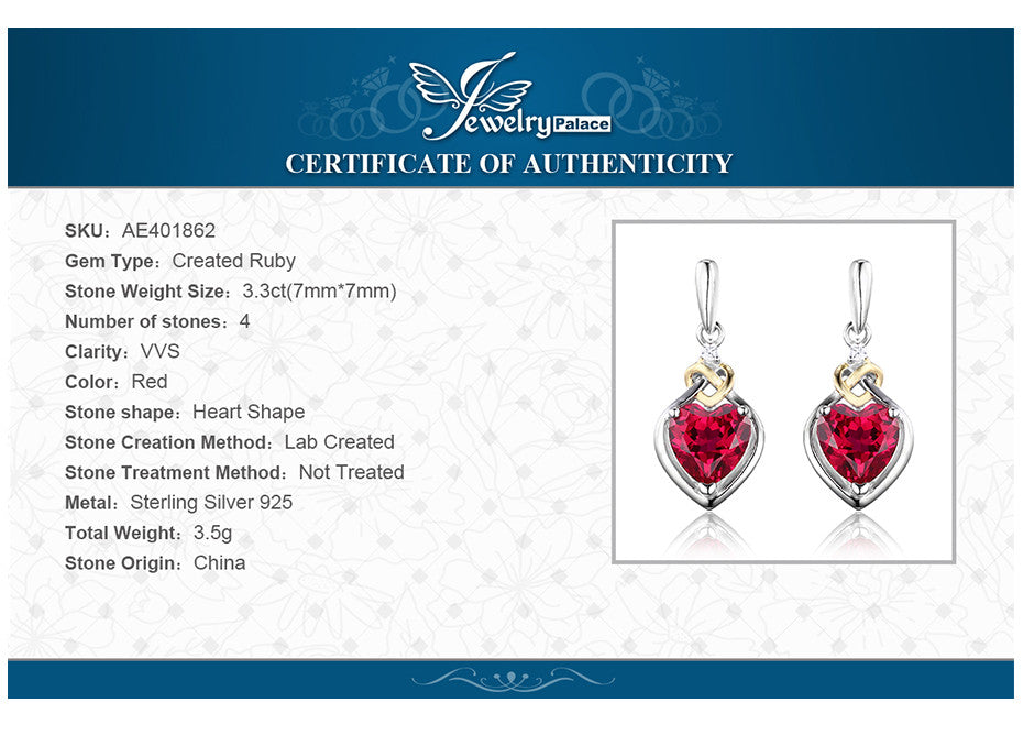 b40a09a10e93c JewelryPalace Love Knot Heart 3.4ct Created Red Ruby Anniversary Drop  Dangle Earrings Women 925 Sterling Silver 18K Yellow Gold