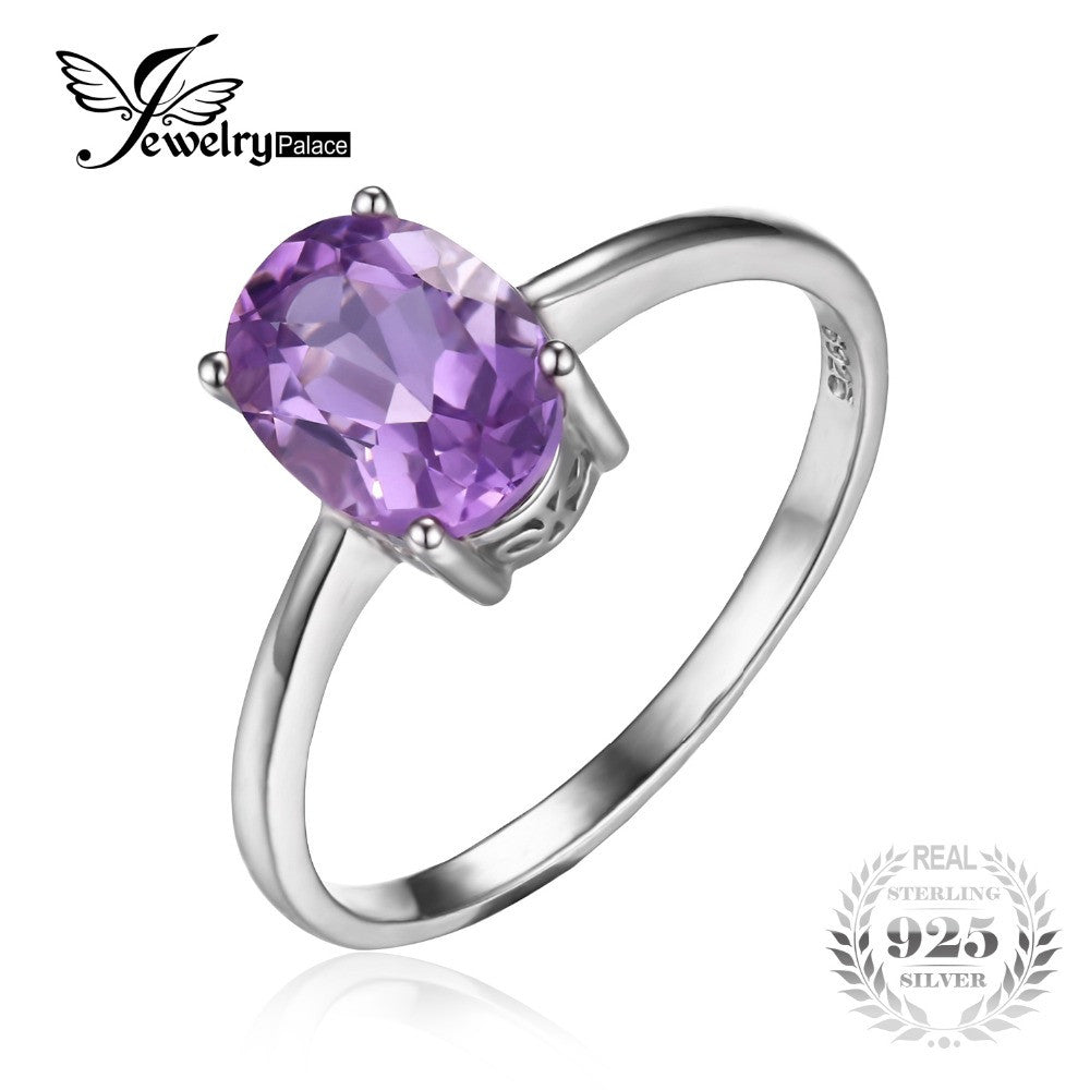 JewelryPalace Classic Round 0.8ct Genuine Purple Amethyst Solitaire Engagement Ring 925 Sterling Silver ooom1aPn