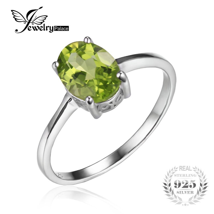 JewelryPalace Oval 1.4ct Natural Green Peridot Birthstone Solitaire Ring Genuine 925 Sterling Silver 2OJxM7fnR4