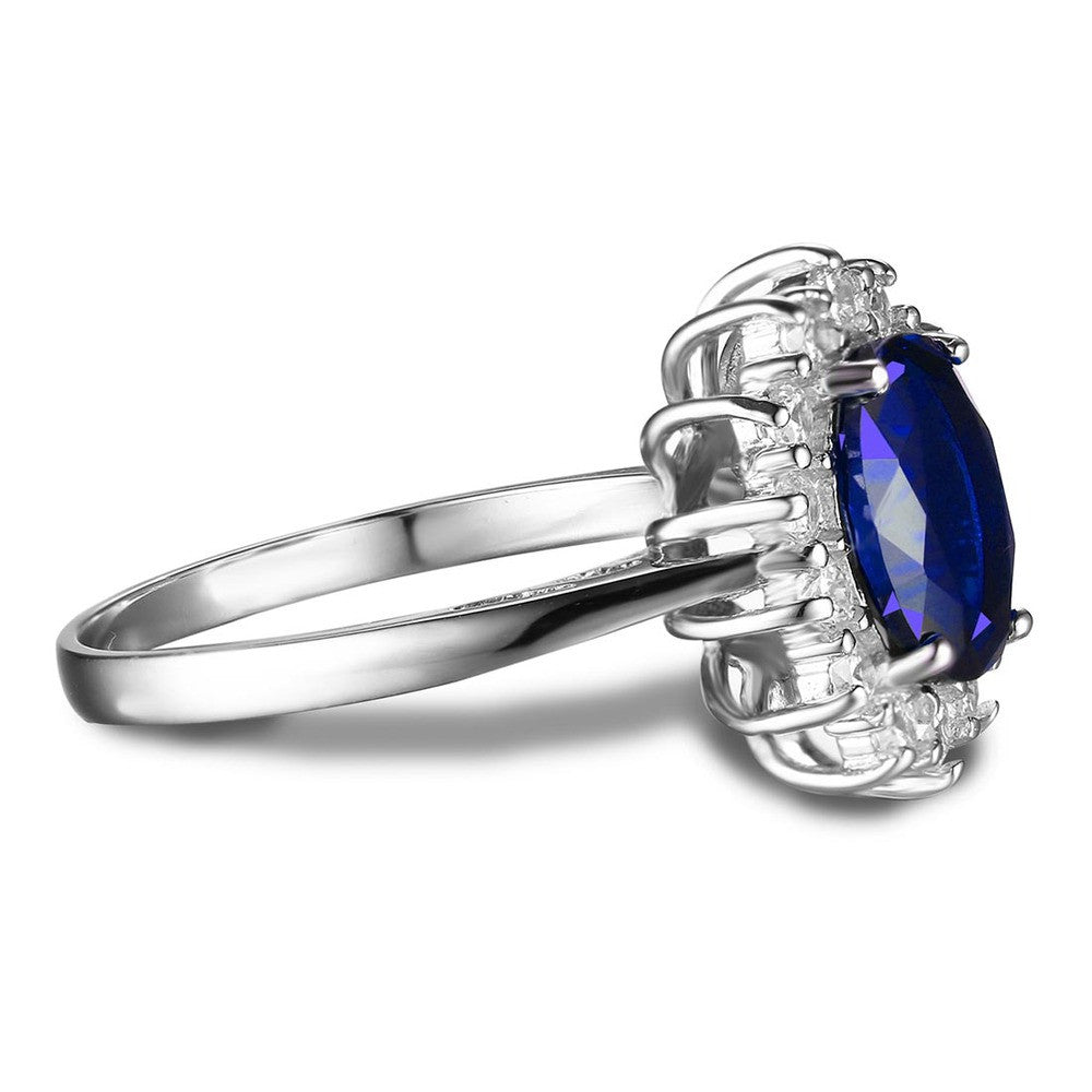 JewelryPalace Oval Diana William Kate Stunning Sapphire Ring 925 Sterling Silver