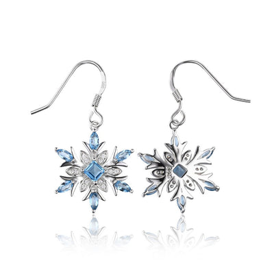 JewelryPalace Snowflake 1.4ct Genuine Swiss Blue Topaz Dangle Earrings 925 Sterling Silver
