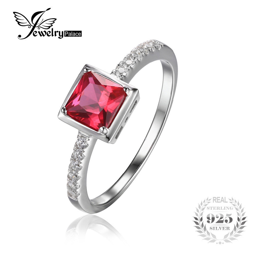 351846d088 JewelryPalace Square Cut 0.7ct Created Red Ruby Ring Solid 925 Sterling  Silver Solitaire Engagement Ring