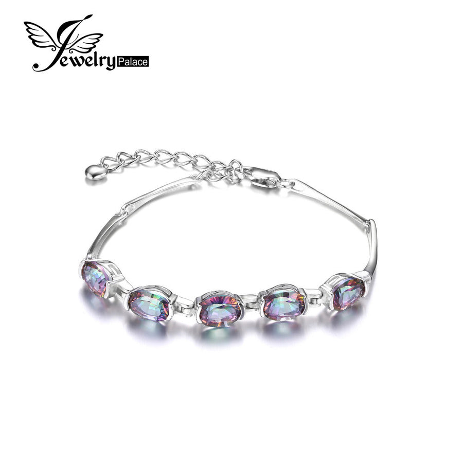 84686d8ff Jewelrypalace Natural Mystic Rainbow Topaz Bracelet Tennis Link Genuine 925  Sterling Silver Women 2016 New Fashion