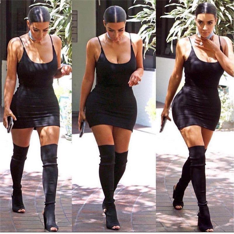 Kim Kardashian Dress Sexy Spaghetti Strap Dresses 2017 New Summer Fashion Women Black Celebrity Cocktail Club Bodycon Mini Dress
