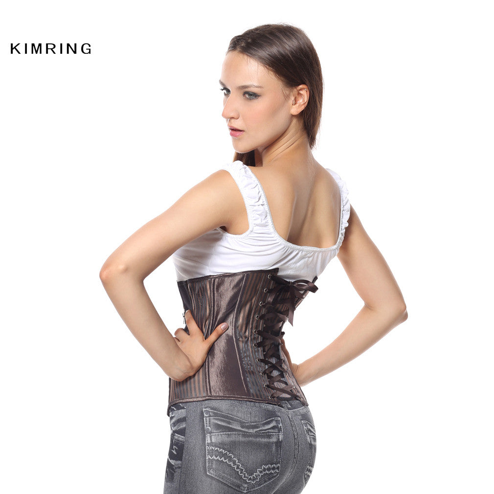 653d862833 Kimring Women s Gothic Steampunk Corset Steel Boned Underbust Corsets and  Bustiers Shapewear Waist Trainer Cincher Corselet