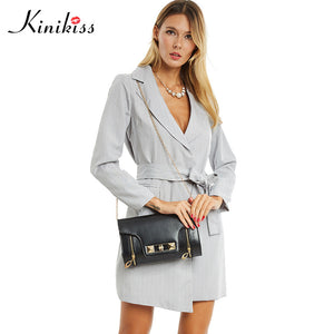 Kinikiss 2017 women trench turn down collar spring gray female coats long sleeve ol office women tops pocket overcoats sashes
