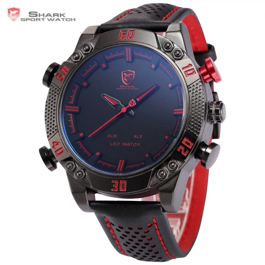 Kitefin Shark Sport Watch Luxury Black Red Quartz Analog LED Digital Date Day Leather Alarm Army Waterproof Mens Watches / SH261