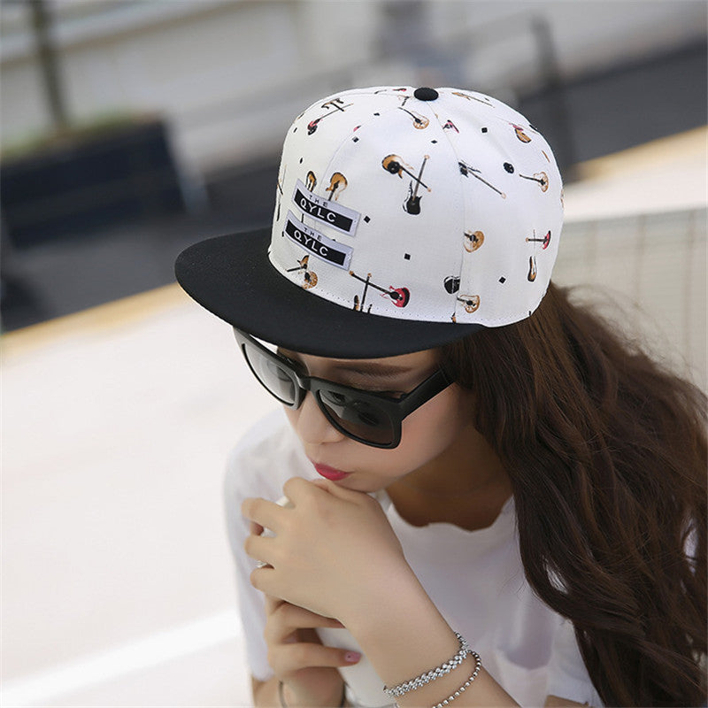 Korean Style Lady`s Hip Hop Cap Guitar Printed Street Dance Singer Baseball Hat Snapback For Hippe Gorras Planas Hip Hop