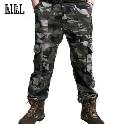 Lill Army Camouflage Cargo Pants Mens Breathable Spring Casual Trous