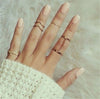 LUCKY YEAR Trendy 6pcs /lot Punk style Gold Color Stacking midi Finger Knuckle rings Charm Leaf Ring Set for women Jewelry Gifts
