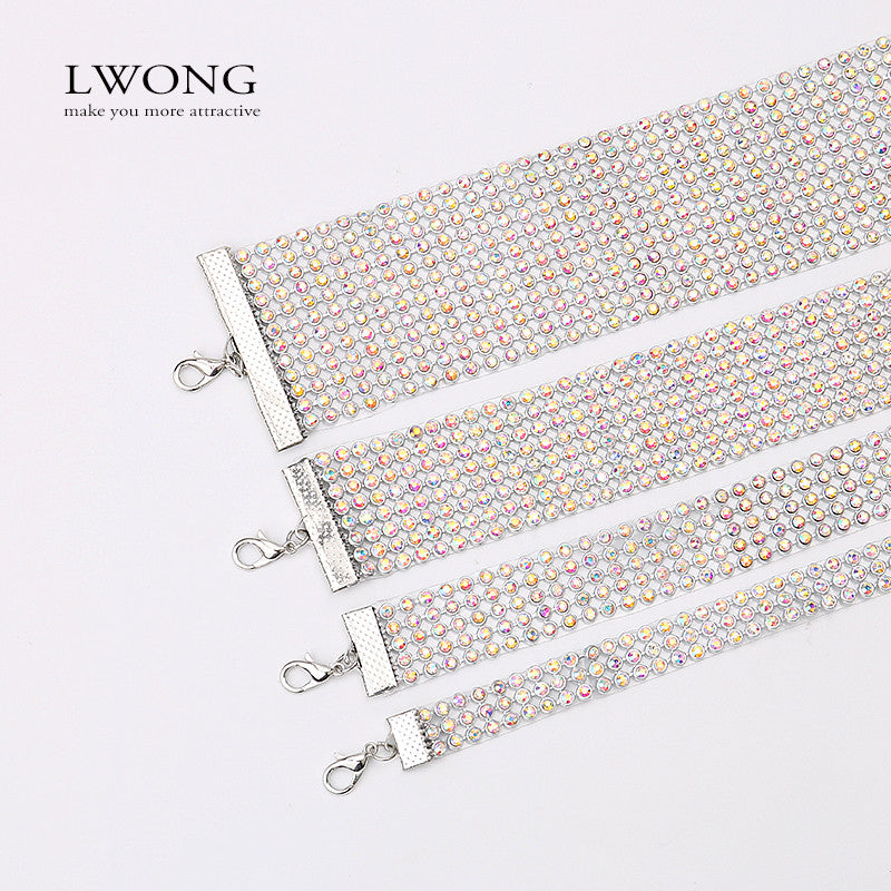 LWONG Elegant Wide Crystal Rhinestone Choker Chocker Necklace Women Fashion  Pave Rhinestones Chokers Jewelry Christmas Gifts 604c2718a920
